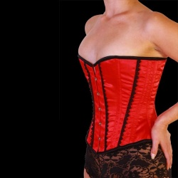Satin Overbust Corset (91cm - 36 inch Red) - car-016-red