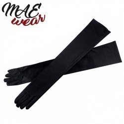 Female Stretch Satin Opera Gloves One Size - mae-cl-031