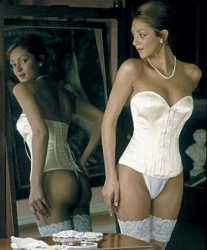 C420 Ivory Satin Overbust Bridalcorset (61 cm - 24 inch No Suspenders) - AX-C420-24inch