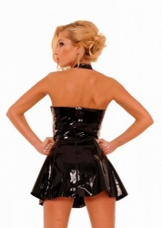 Borstvrije Latex Mini Jurk maat Large - AB4390-L-BLK