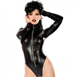 Zwarte Wetlook Domina Body - mae-cl-072
