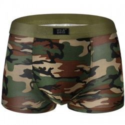 Boxer short in military green-camouflage print - mae-cl-077