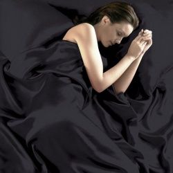 Luxury Black Satin Silk Soft QUEEN Bed Sheet Set - mae-TY-065B