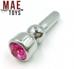 Metal Jewel Penis Head Plug - Pink  - MAE-SM-090P