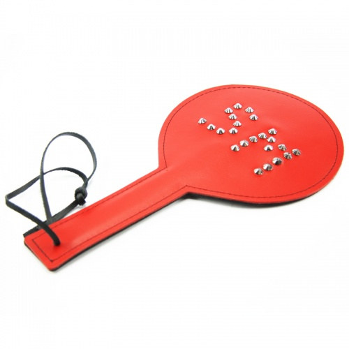 Leather Spiked SM Paddle (Red/Black) - fp-051