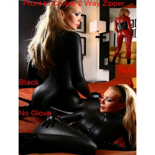 Spandex Black Checkered Catsuit - mae-cl-008-blk