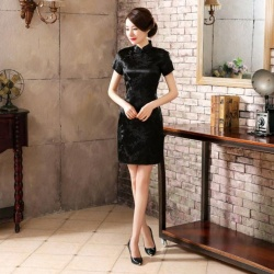 High Fashion Black Chinese Satin Cheongsam Dress - mae-cl-130