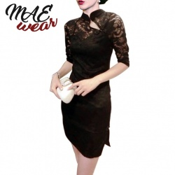 Black Classical Chinese Cheongsam Lace Dress - mae-cl-131