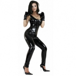 White PVC Catsuit size UK 14 - EU 42 - le-1174-WHT-UK14-EU42