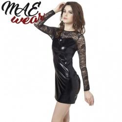Black Erotic Lace Wetlook Mini Dress - MAE-CL-138