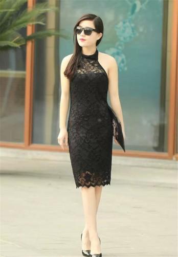 Black Lace Halterline Dress - mae-cl-005