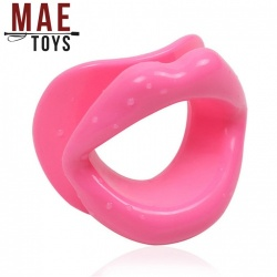 MAE-Toys Silicone Open Mouth Gag Pink - mae-sm-167p