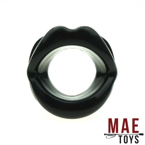 MAE-Toys Siliconen Open Mond Gag Zwart - mae-sm-167b