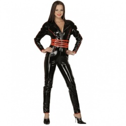 Red / Black Vinyl Catsuit size UK 18 - EU 46 - Le-1603-RED-BLK-UK18-EU46