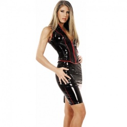 Knee length vinyl skirt 1637 - le-1637