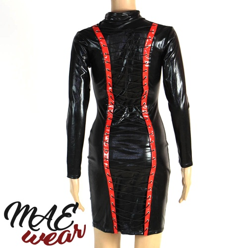 MAE-Wear Black & Red Wetlook Lace-up Dress - mae-CL-186