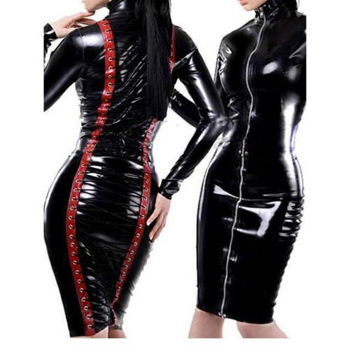 MAE-Wear Black & Red Wetlook Lace-up Dress - mae-cl-186