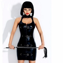 MAE-Wear Shiny Wetlook Strap Buckle Dress M - mae-cl-187