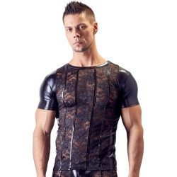 Wetlook shirt met kant maten S > XL - or-2161036