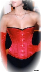 Corset EC001 - Red satin half bust - ET-EC001-SATIN-RED