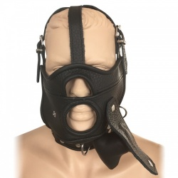 Saxos Mask with Opening, Removable Gag and Collar L/XL - os-0518lxl