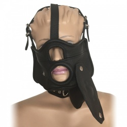 Saxos Mask with Opening, Removable Gag and Collar S/M - os-0518sm