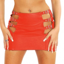 Red Leather Miniskirt sizes EU 42 + EU 44 - Le-5101-RED