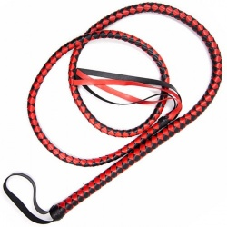 1.9m / 6.2 ft. PU Leather Bull Whip Black & Red - mae-sm-202