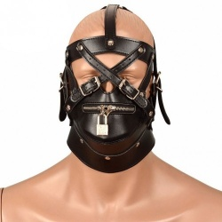 MAE-Toys Leatherlook Bondage Slave Mask with Zipper - mae-sm-005