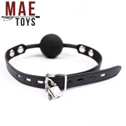MAE-Toys Black Silicone Lockable Ballgag  - mae-sm-182blk-l