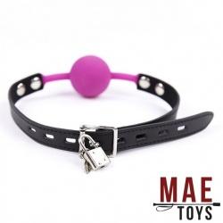 MAE-Toys Fuchsia Silicone Lockable Ballgag  - mae-sm-182fch-l