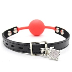 The Hush Silicone Lockable ball gag - Red - mae-sm-182red-l