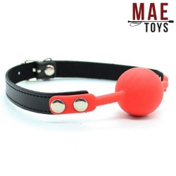 MAE-Toys Red Silicone Lockable Ballgag - mae-sm-182red-l