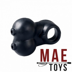 MAE-Toys Zwarte Siliconen Ball Stretcher met Cock Ring - mae-ty-001blk