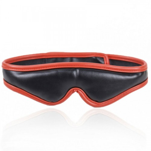 MAE-Toys Padded Black/Red PU-Leather Blindfold