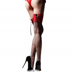 Black-red stockings in net/lace design - mae-cl-015br