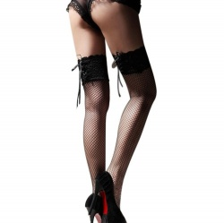 Black stockings in net/lace design - mae-cl-015b