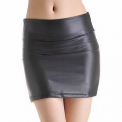 MAE-wear Black Wetlook Skirt - mae-cl-141