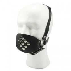 Leather Rubber Ball Gag Harness - fp-091
