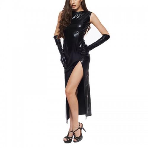 MAE-Wear Black Wetlook Split Dress with Gloves - mae-cl-014