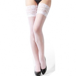 White Thigh-High Stockings - mae-cl-016wht