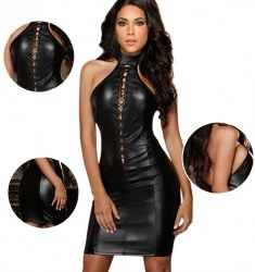 MAE-Wear Stylish Black Wetlook Dress - mae-cl-022
