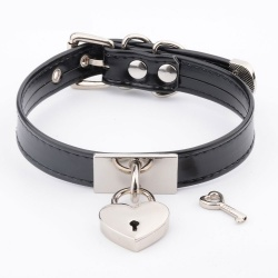 BDSM Collar met Love Hartjes hangslot - mae-sm-023