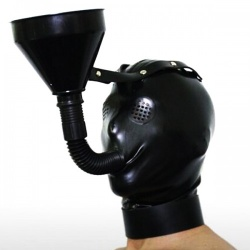 Black Latex Funnel Mask - mae-sm-024