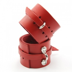 Red Leather Lockable Wristcuffs - fp-108