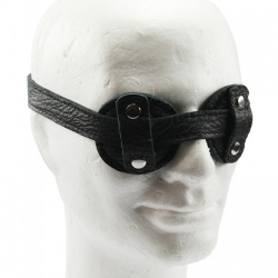 Round Eye Black Leather Blindfold - fp-109