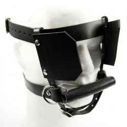 Black Hard Leather Pony Bit Harness - fp-116