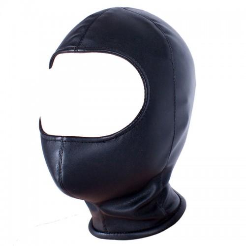 Zwart Half-open lederlook Masker - bhs-009z