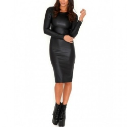 Black Wetlook Dress - mae-cl-047