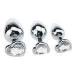 3-delige RVS Heart-Jewel Plug set - mae-ty-007